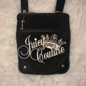 Juicy Couture Black Velour Retro Crossbody Purse